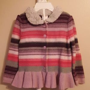 EUC GYMBOREE STRIPED MULTICOLOR CARDIGAN 2T